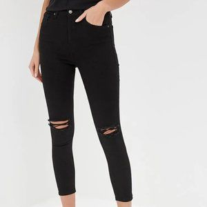 Topshop Black Skinny Distressed Cropped Jeans
